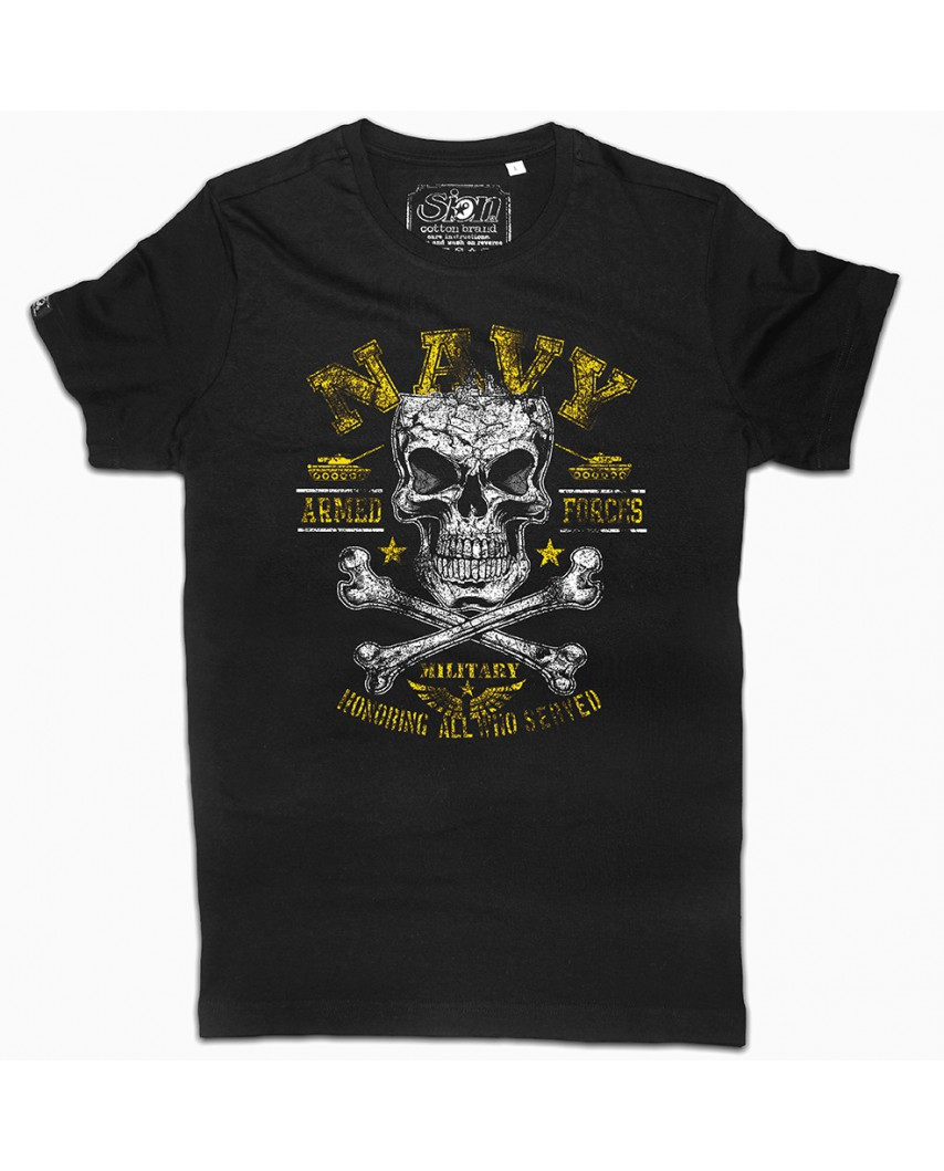 camiseta orgánica navy negra
